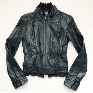Miss Me MM Couture Womens Ruffle Leather jacket S